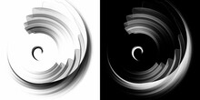 Monochrome Wavy And Rounded Airy, Transparent Planes Move In A Circle On White And Black Backgrounds. Graphic Design Elements Set. 3d Rendering. 3d Illustration. Logo, Icon, Symbol, Sign.