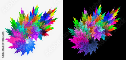 Fototapety, obrazy: Multicolored abstract leaves stacked in a bouquet in a spiral on black and white backgrounds. Set of abstract fractal backgrounds. 3d rendering. 3d illustration.