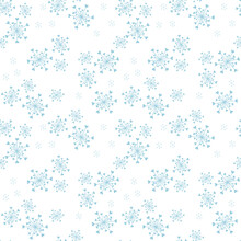 Subtle Vector Seamless Pattern With Abstract Snowflakes And Tiny Hearts. Doodle Style Minimalist Background. Blue And White Texture. Elegant Minimal Repeat Design For Decor, Print, Wrap, Wallpapers