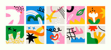 Set Of Colorful Abstract Art Banner Collection. Big Bundle Of Eye Catching Flat Cartoon Illustrations, Simple Basic Freehand Shapes. Childish Artwork For Children Or Cubism Inspired Project.
