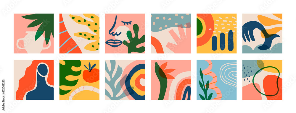 Fototapeta Big set of matisse art greeting cards on isolated background. Natural summer plants and organic shapes collection of woman face, jungle leaf, geometric shape. Abstract summer decoration bundle.