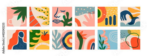Obraz Big set of matisse art greeting cards on isolated background. Natural summer plants and organic shapes collection of woman face, jungle leaf, geometric shape. Abstract summer decoration bundle. - fototapety do salonu