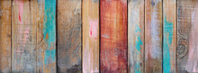 Weathered Wooden Boards With Worn Colors - Eco Vintage Banner Background
