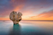 Lonely Rock Sculpture At The Shape Of Heart, Preveli, Crete, Greece