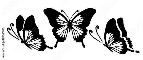 Obraz na plátně Graphic flying black and white butterflies