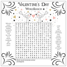 Valentine's Day Word Search Puzzle. Suitable For Social Media Post. Educational Game For Children. Printable Worksheet For Learning English.
