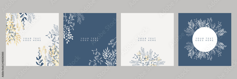 Fototapeta Set of floral universal artistic templates with blue gold pastel color. Good for greeting cards, invitations, flyers and other graphic design. Square floral greeting card
