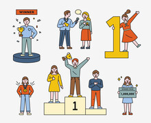 A Collection Of Winner Characters. The Man With The Trophy. The Woman To Be Interviewed. The Woman Who Won The Medal. The Man Who Climbed The First Prize. Woman Holding Goods. Flat Design Style.