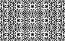 Ethnic Indian Geometric Doodling Style Background With Intertwined Lines And Flowers. Abstract Black White Template. Vector Graphics For Wallpapers, Coloring Books, Business Cards, Textiles.