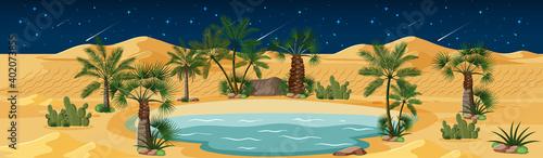 Obraz na plátně Desert oasis with palms and catus nature landscape at night scene