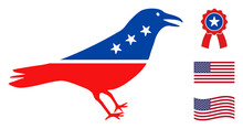 Crow Bird Icon In Blue And Red Colors With Stars. Crow Bird Illustration Style Uses American Official Colors Of Democratic And Republican Political Parties, And Star Shapes.