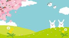春の風景 背景イラスト