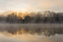 Fog On The Water Of Lake Lanier In Georgia, USA In Winter At Sunrise