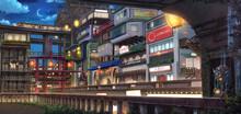 Light City - Night , Anime Background , Illustration