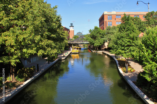 Vászonkép Riverwalk and canal in Oklahoma