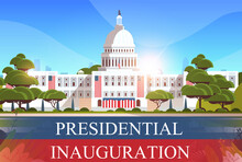 Capitol Building Washington D.C. USA Presidential Inauguration Day Celebration Concept Greeting Card Horizontal Banner Vector Illustration