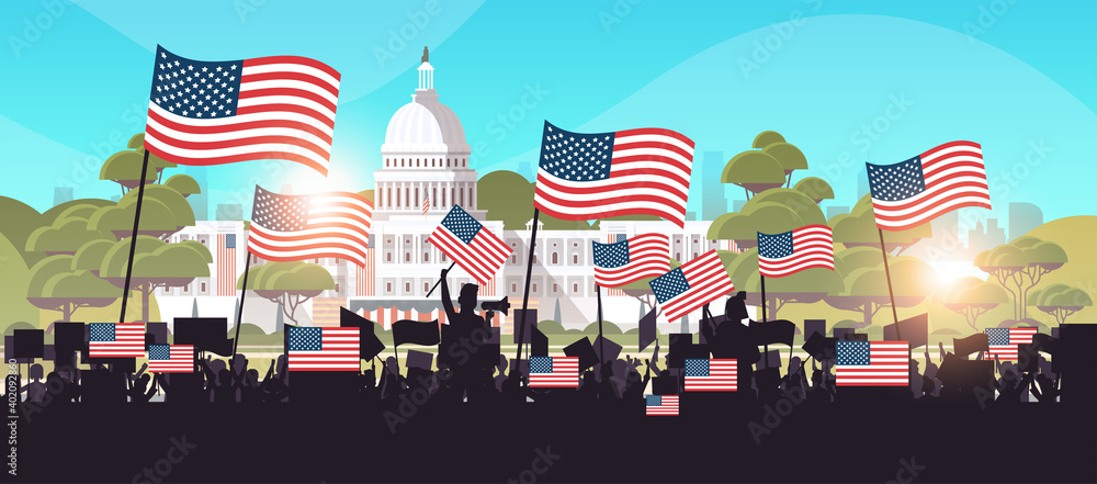 Fototapeta people silhouettes holding placards near white house building USA presidential inauguration day celebration concept cityscape background horizontal vector illustration