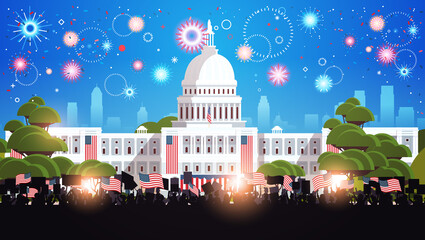 Fototapeta Koszykówka people silhouettes holding american flags near white house building USA presidential inauguration day celebration concept cityscape background horizontal vector illustration