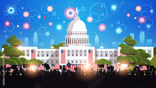 people silhouettes holding american flags near white house building USA presidential inauguration day celebration concept cityscape background horizontal vector illustration