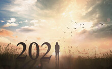 Success Woman Of New Year 2021 Concept: Silhouette Woman With Text For 2021 Against On Meadow Sunset Background