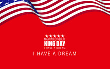 Vector Illustration Martin Luther King Day Greeting Card - American Flag Abstract Background