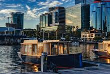 Beautiful Summer Night Sunset Cityscape At Elizabeth Quay, Perth