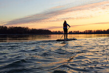 Silhouette Of Young Girl Rowing On Stand Up Paddle Board (SUP) On Danube River At Winter Sunset. Backlight