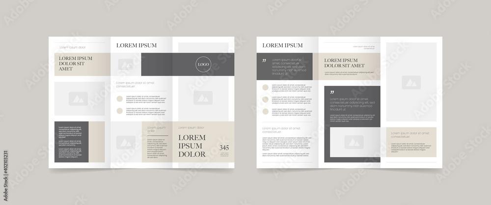 minimal style trifold brochure design  - obrazy, fototapety, plakaty
