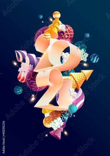 New year 2021. White numbers with colorful Christmas decoration.
