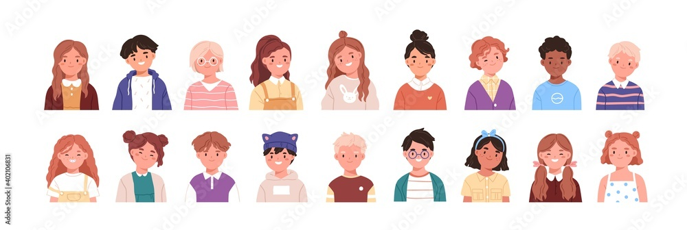 Fototapeta Set of children avatars. Bundle of smiling faces of boys and girls with different hairstyles, skin colors and ethnicities. Colorful flat vector illustration isolated on white background
