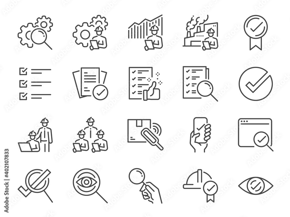 Fototapeta Inspection line icon set. Included the icons as inspect, QA, qualify, quality control, check, verify, and more.
