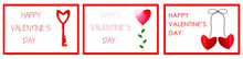 A Set Of Postcards For Valentine's Day. Red Hearts, Inscriptions. Vector Illustration