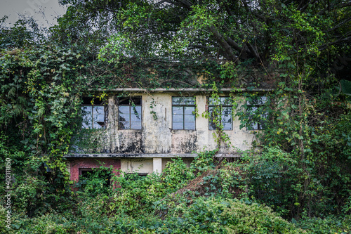 Abandoned old house covered with leaves and green, countryside of Hong Kong