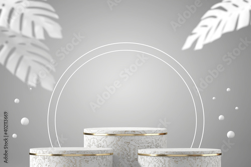 Canvas Print Abstract white marble podium for product display focus main object with white ba