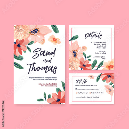 Wedding card template with brush florals concept design for invitation and marry Wallpaper Mural