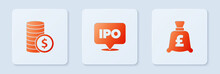 Set IPO, Coin Money With Dollar And Pound. White Square Button. Vector.