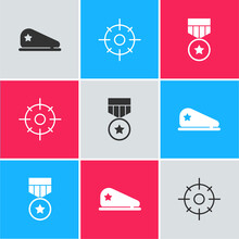Set Military Beret, Target Sport And Reward Medal Icon. Vector.