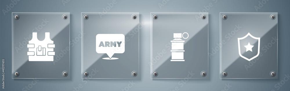 Fototapeta Set Military reward medal, Hand smoke grenade, army and Bulletproof vest. Square glass panels. Vector.