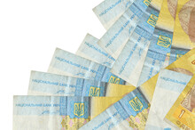 1 Ukrainian Hryvnia Bills Lies In Different Order Isolated On White. Local Banking Or Money Making Concept