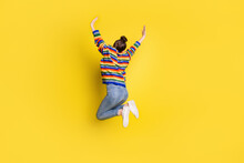 Full Size Back Rear Spine View Photo Of Pretty Girl Jump Up Air Raise Hands Wear Rainbow Color Sweater Isolated On Vivid Color Background