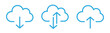 Collection cloud with arrow line icon. Upload and download cloud arrow vector symbols. Clouds with arrows up and down isolated blue signs.