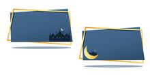 Eid Mubarak Islamic On The Beautiful Night With Moon , Eid Al Fitr Happy Holiday Design Greeting Card Banner Background , Vector Illustration