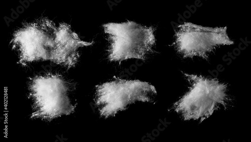 Canvas Print Wadding, absorbent cotton wool set and collection isolated on black background w