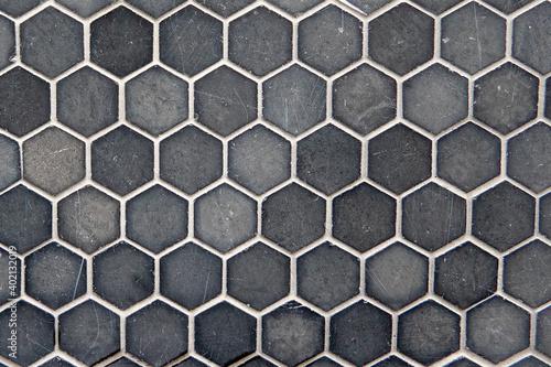 テクスチャー 六角形の灰色のタイル texture of gray hexagon tiles Fototapet