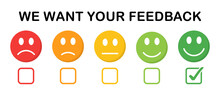 We Want Your Feedback Vector Background. Five Faces With Emotions For Rating. Smile Happy And Unhappy Faces Icons. Vector Illustration.