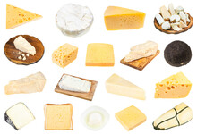 Various Pieces Of Cheeses Isolated On White Background