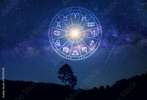 Tableau sur Toile Zodiac signs inside of horoscope circle
