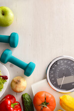 Healthy Food And Sport Background With Scale Top Vertical