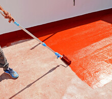 Waterproofing The House Terrace With Red Rubber Waterproof Coating Paint.