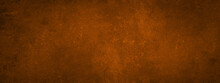 Grunge Rusty Dark Orange Brown Metal Steel Stone Background Texture Banner Panorama